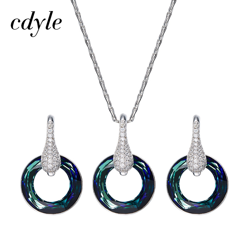 Cdyle Crystals from Swarovski Necklace Earrings Sets S925 Sterling Silver Jewelry Fashion Women Pendant Earrings Set