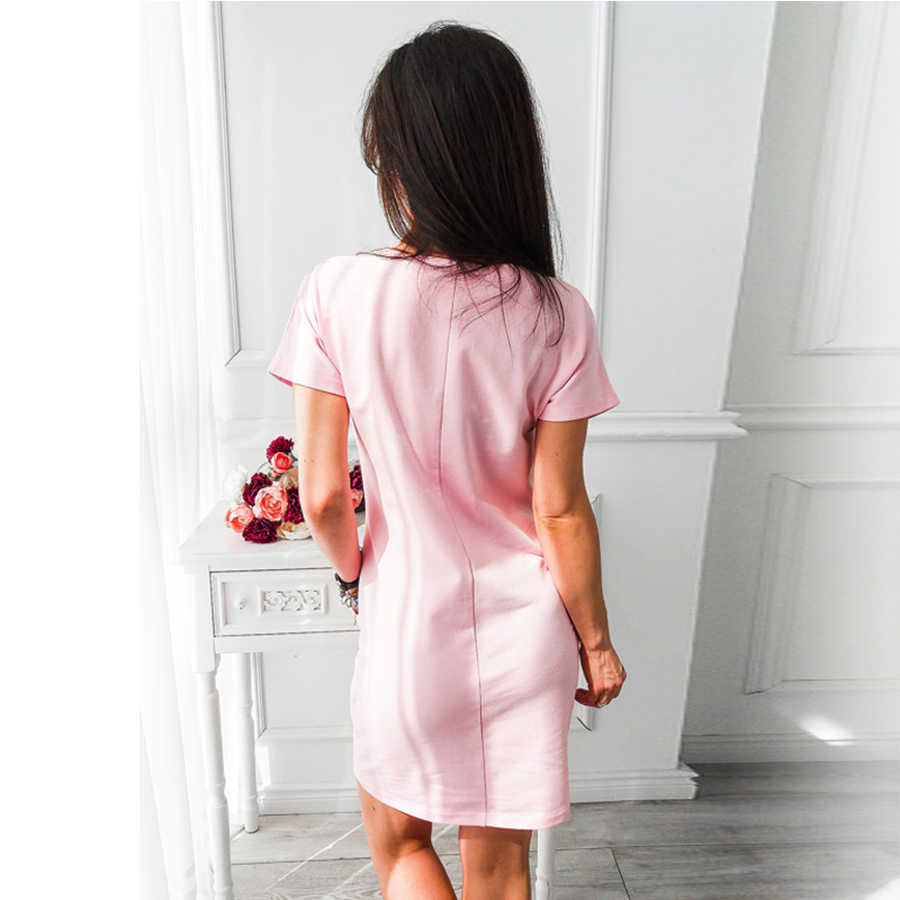 O-hals Korte Mouw Solid Party Dress Losse Rechte Mode Zakken Elegante Feminina Vestidos Casual Vintage Vrouwen Zomer Nieuwe