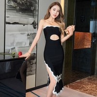 2017 Women Summer Party Bandage Dress Sexy White Black Patchwork Hollow Out Strapless Celebrity Runway Party Dress