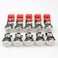 10x 30mm Chrome Silver LED Illuminated Push Butttons For Arcade Machine Games Mame Jamma Parts White