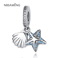 Authentic 925 Sterling Silve Beads Starfish Shell With Crystal Pendant Charms Fit Pandora Bracelets Bangles DIY