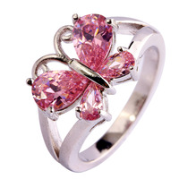 lingmei Lady Fashion Pink Topaz 925 Silver Ring Size 6 7 8 9 10 11 Jewelry Beautiful Butterfly For Women Free Shipping Wholesale