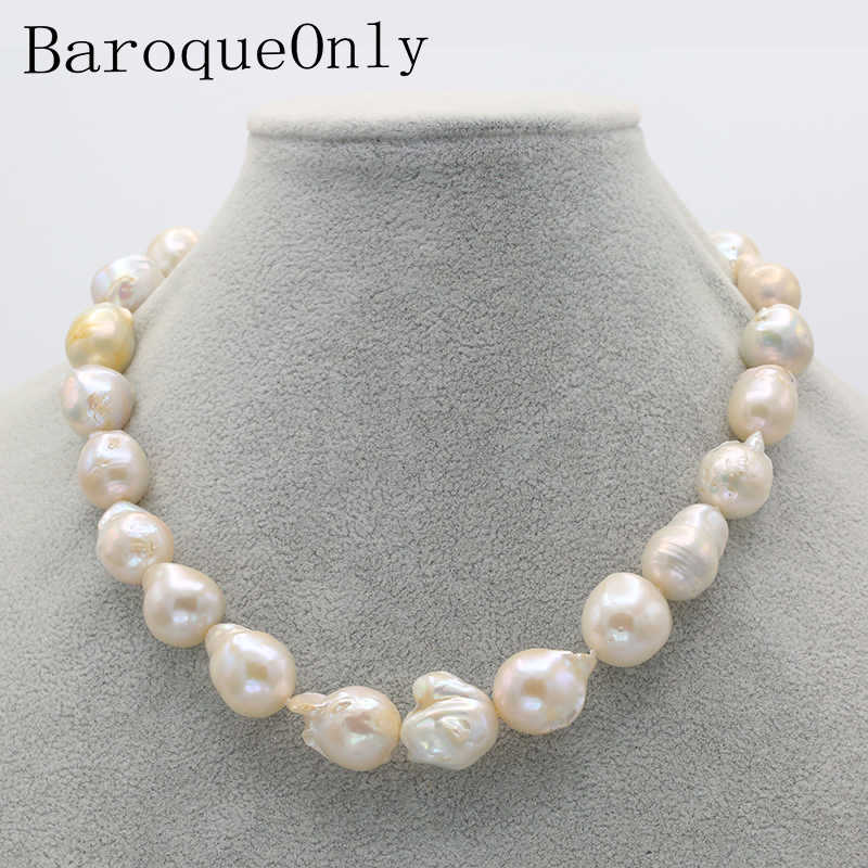 BaroqueOnly heart hook large Nuclear Edison Pearl choker necklace white pearl 20-23mm Rope Chain Beads Accessory Crafts Jewelry