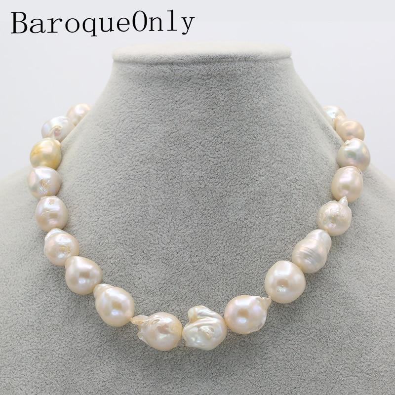 BaroqueOnly heart hook ขนาดใหญ่นิวเคลียร์ Edison Pearl choker สร้อยคอสีขาว pearl 20 23 มิลลิเมตรเชือกลูกปัดอุปกรณ์เสริมหัตถกรรมเครื่องประดับ-ใน สร้อยคอ จาก อัญมณีและเครื่องประดับ บน   1