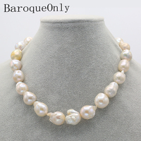 BaroqueOnly heart hook large Nuclear Edison Pearl choker necklace white pearl 20 23mm Rope Chain Beads Accessory Crafts Jewelry