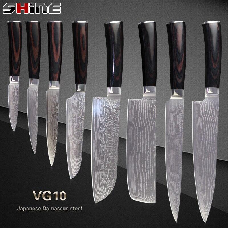 Xyj professiona giapponese coltelli damasco vg10 damasco - Kit coltelli da cucina ...