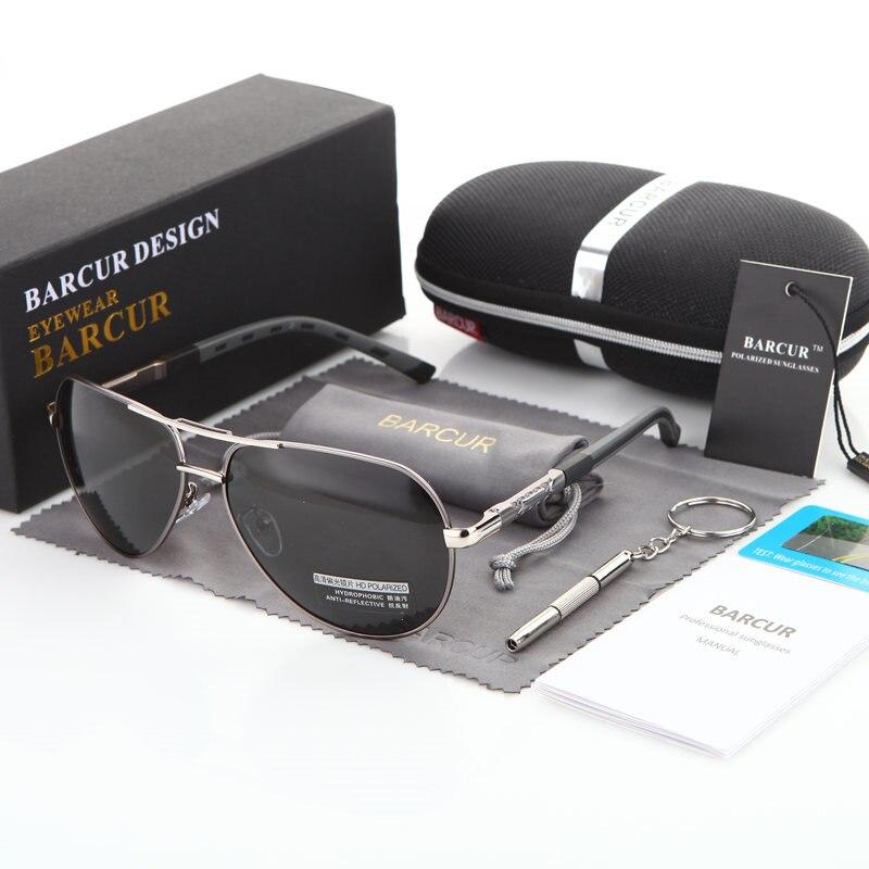 BARCUR Aluminum Magnesium Men's Sunglasses Men Polarized Coating Mirror Glasses oculos Male Eyewear Accessories For Men 9