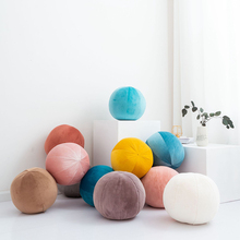 Simanfei Pillow Ball Velvet High Elastic Solid Candy Color Lumbar Travel Soft Cushion Throw Multi-function Bed