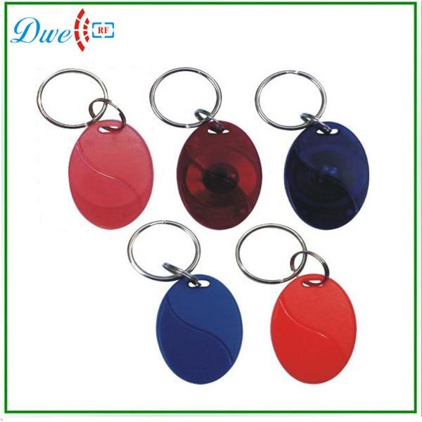 DWE CC RF 50pcs/lot mixed color rfid TK4100 id  key tag 125khz for access control system 50pcs lot mixed color