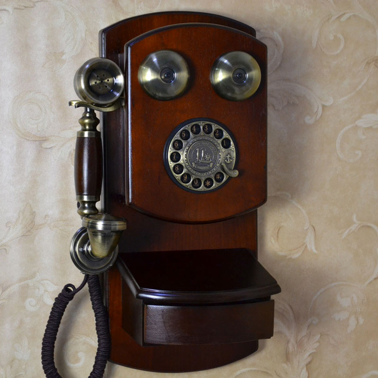 Old Fashioned Wooden Wall Phones