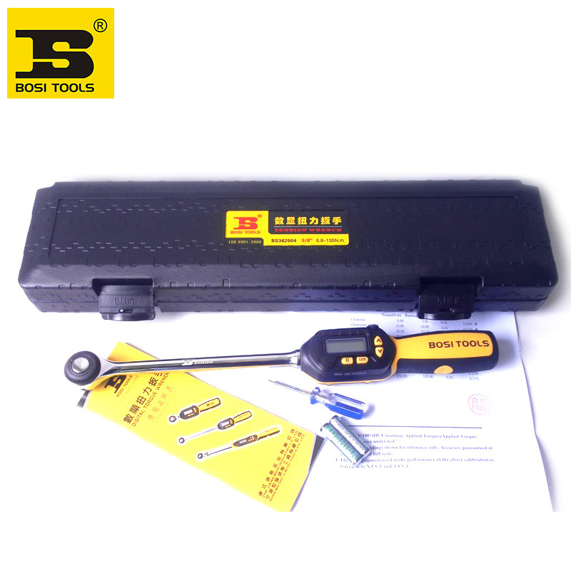 Wholesale price bosi 3/8'' 6.5-135n.m digital buzzer 6led torque wrench 4-unit selection