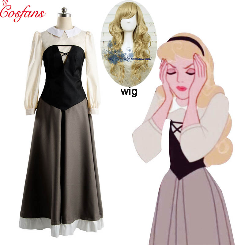 New Sleeping Beauty Costume Adult Princess Aurora Dress Cosplay Costume Halloween Whole Set Princess Dress And Wig Christmas