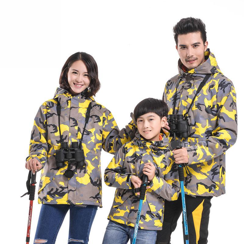 ФОТО 3 in 1 Outdoor Warm Waterproof Windstopper Lover Coat Jacket Parent Children Kids Family Camouflage Sports Outwear 4XL