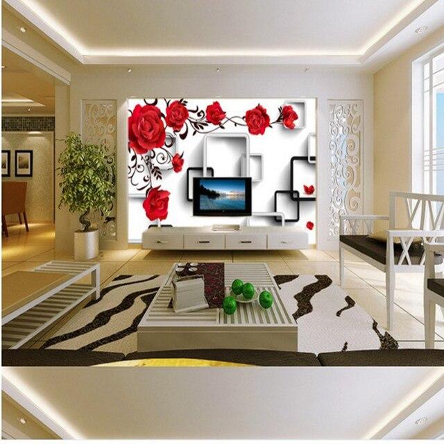 Wohnzimmer bilder fr hintergrund  Custom home dekoration 3d wallpaper rote rose geometrische box ...