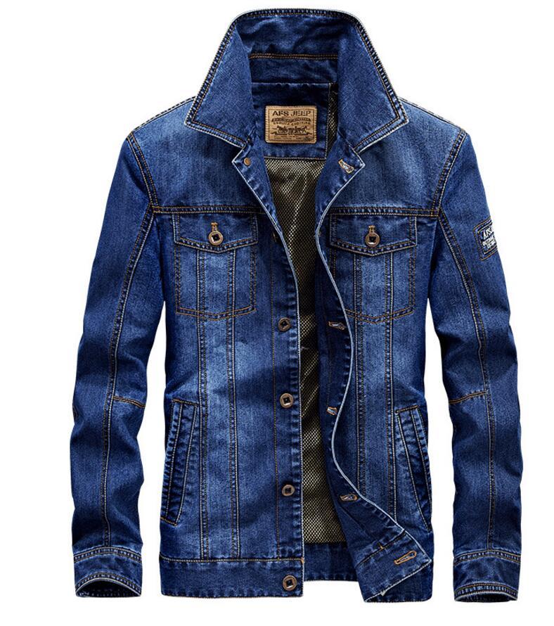 Afs Jep Mode 2017 männer Denim Jacke Für Männer Military Jeans Jacke Top Qualität Marke Männlichen Bomber Mäntel Jacken größe 4XL
