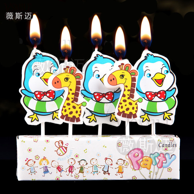 5pcs Cute Chicken Deer Duckling Bee Sea fish Happy Birthday