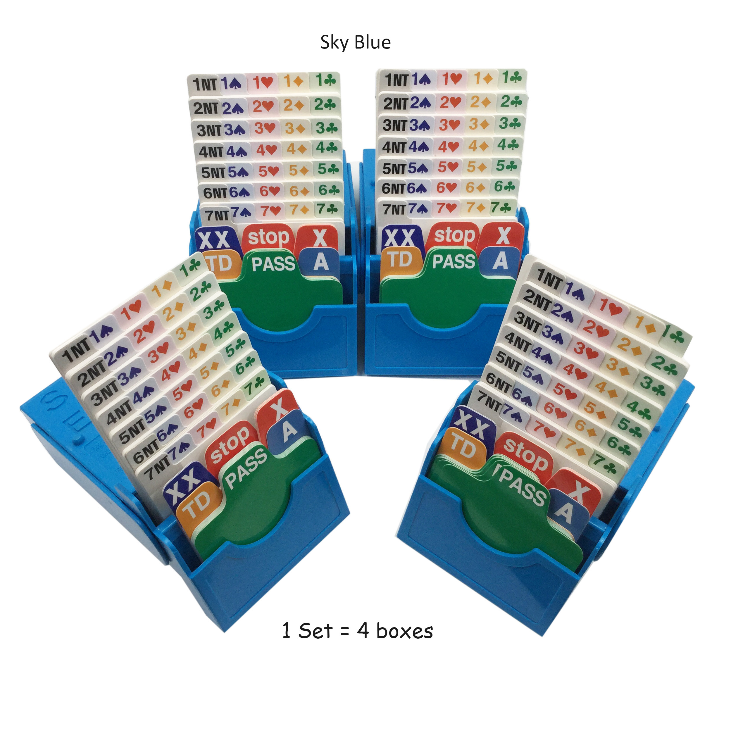 4 SETS / LOT English Bridge Set with Bidding Box & Bridge Playing Cards Together game Play In Bridge Tournment 3 colors choices