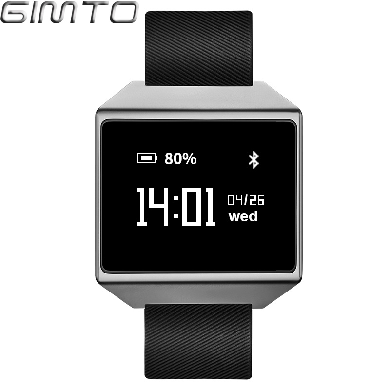 GIMTO Men Smart Bracelet Sport Watch Digital Waterproof Touch Screen Blood Pressure Heart Rate Monitor Pedometer For Android IOS smart watch dm88 bluetooth heartrate monitor writswatch romote camera touch screen leather bracelet watch for ios android phones