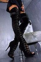Женские замшевые сапоги гладиаторы выше колена с открытым носком, на шнуровке, с кисточками замшевые сапоги на высоком каблуке с вырезами м