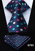 "Polka Dot Check Plaid Floral 3.4"" Silk Jacquard Party Wedding Woven Men Tie Fashion Designers Necktie Handkerchief Set #G7  4"