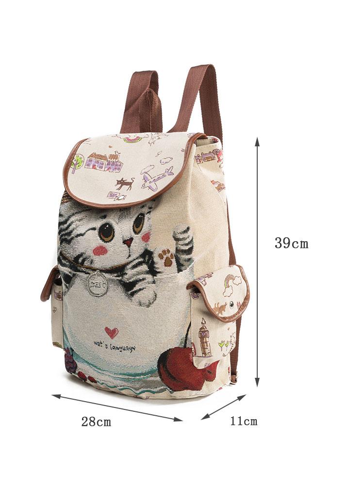 Drawn Cat Printed Backpack
