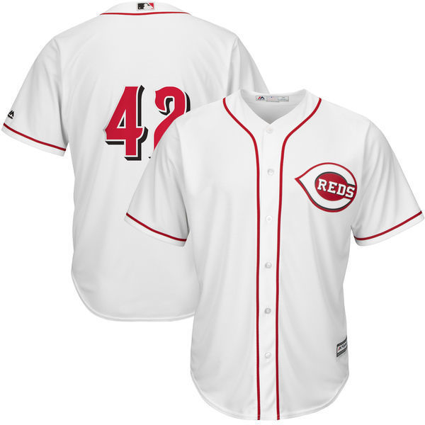 MLB Mens Cincinnati Reds Jackie Robinson Baseball White Cool Base Jersey