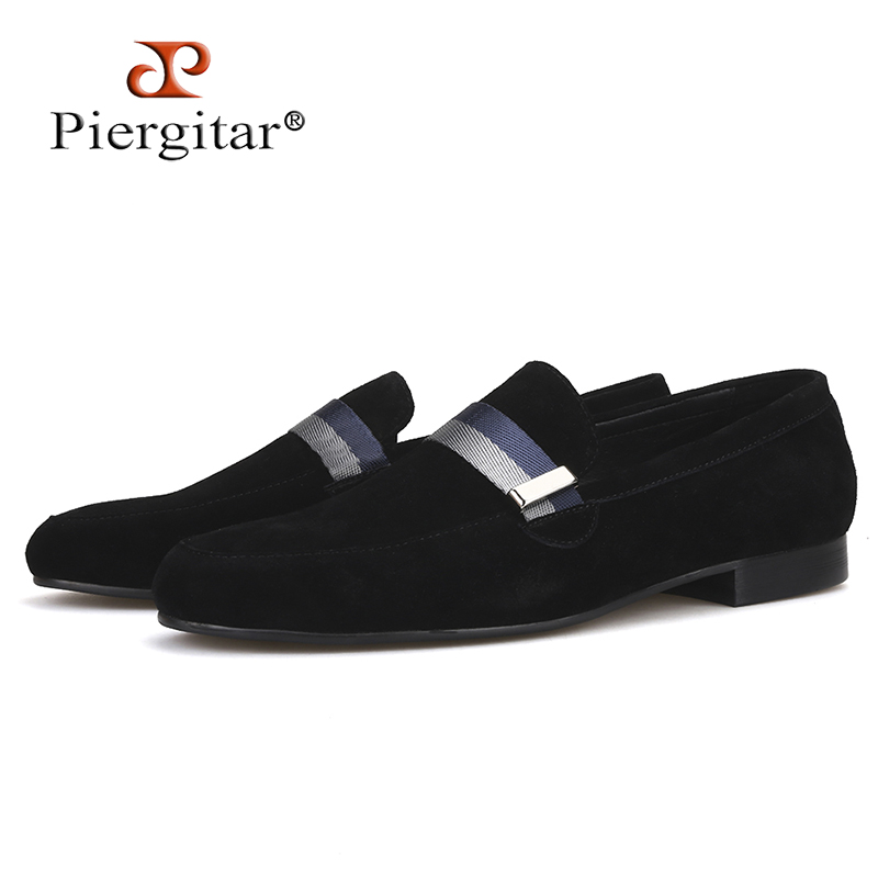 Piergitar 2019 Handcraft Men suede shoes with mixed lace Men Smoking Slipper Fashion Party and banquet