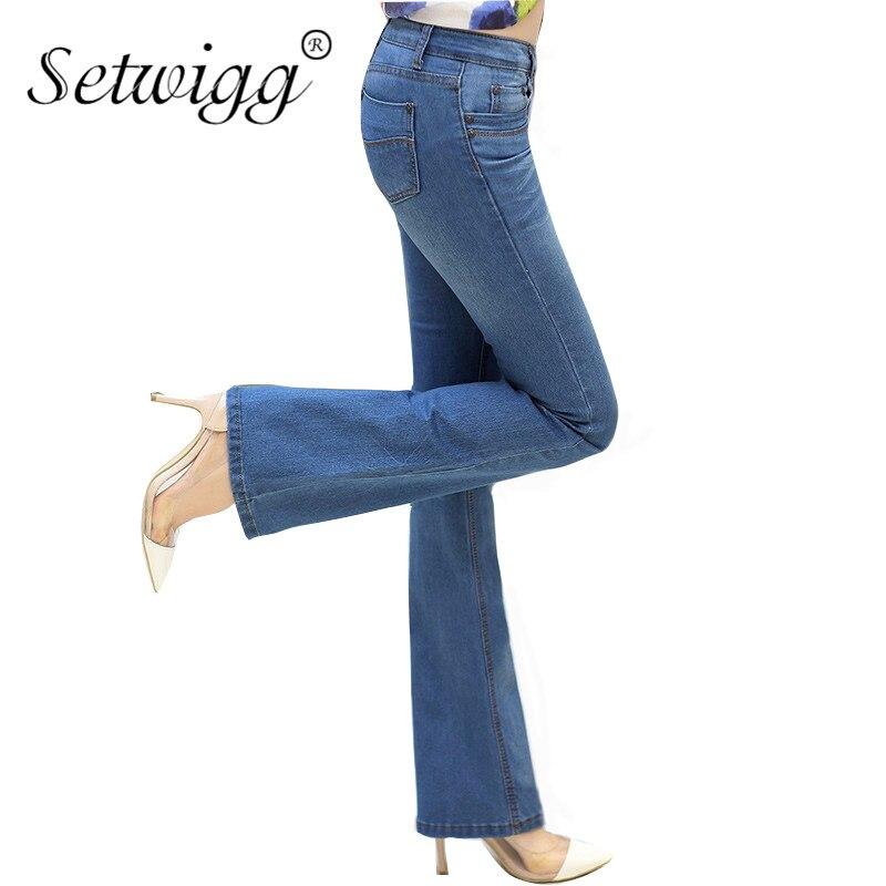 SETWIGG Womens Ligth Blue Slim Flare Jeans Low Waisted Stretch Denim Female Bell Skinny Pants & Long Jean Trousers denim