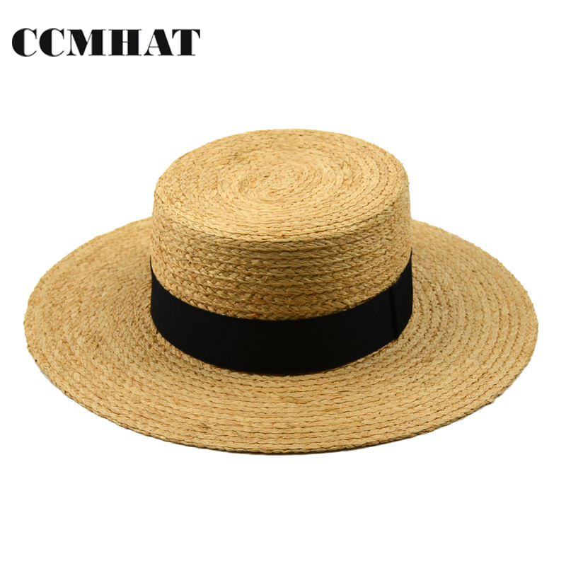 e5934d7cdad CCMHAT Raffia Straw Hat For Women Flat Top Wide Brim Raffia Straw Sun Hat  For Men Summer Casual Beach Panama Raffia Flat Sun Hat