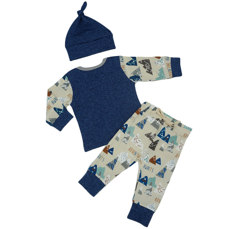 Autumn 2017 New Baby Boys Girls Patchwork Clothes Set Fashion Printing T-shirt+Pants+Hat 3Pcs Newborn Toddler Babies Clothing