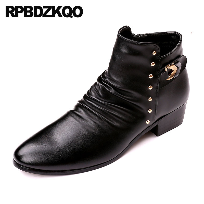 Rivet Mens Zipper Dress Boots Black Chunky Shoes British Style Pointed Toe Stud Winter Rock Fur Punk High Top Metalic Booties stud high top flat booties metalic sneakers rock ankle shoes winter men boots with fur brown rivet punk black zipper trainer