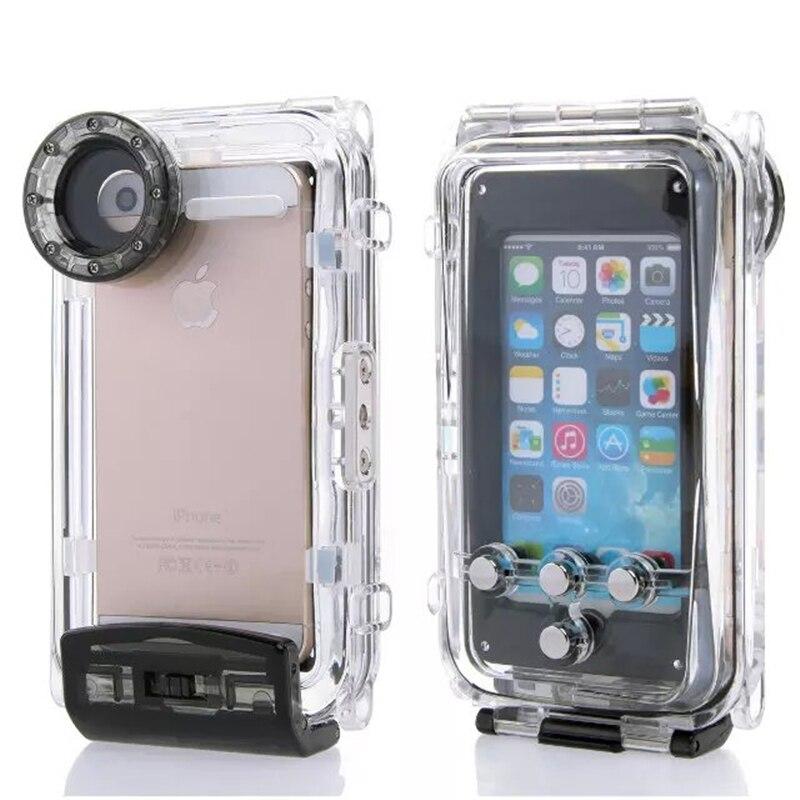 Цена за Высокое качество 40 м Дайвинг Водонепроницаемый чехол для iPhone 6 Plus 5.5 дюйма Пластиковые Водонепроницаемый телефон сумка Обложка для купания Рыбалка спортивные