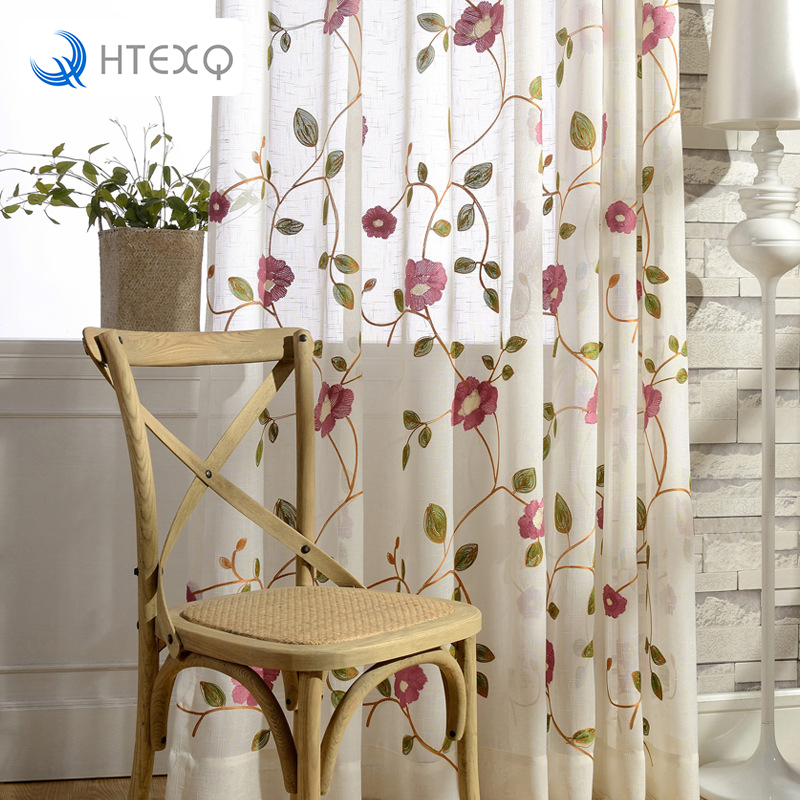 Modern Rose Floral Red And Blue Curtains Tulle Living Room