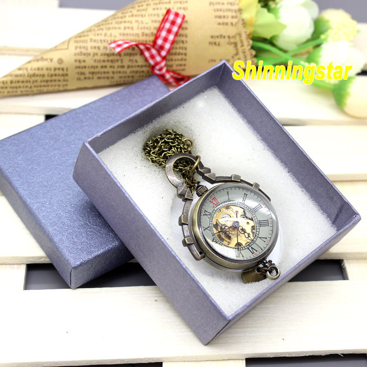 Steampunk Glass Antique bronze automatic pendant watch necklace Mens Woman mechanical watch retro vintage military pocket watch antique fullmetal alchemist full metal case bronze pocket watch with chian necklace christmas