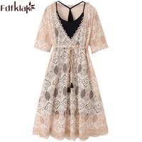 Fdfklak M 4XL Summer Maternity Dress For Pregnant Women Short Sleeve Cotton Pregnancy Clothes Beige/khaki Plus Size Dress F330