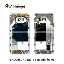 1Pcs New Middle Frame For Samsung Note 5 N920 Middle Plate Housing Chassis Frame Bezel With Side Button and Camera Lens Cover стоимость