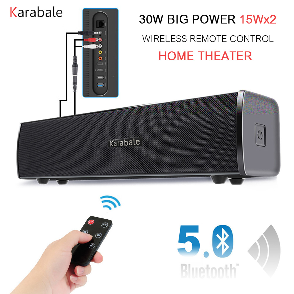 30W HIFI Bluetooth Speaker Soundbar Portable Heavy Bass Wireless Remote Control Desktop Car Speaker Home Theater Handfree MIC
