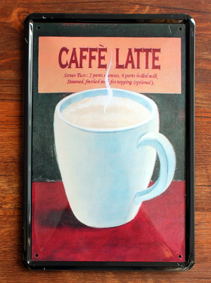 Coffee Latte Bar Decor Tin Signs Metal Painting Me