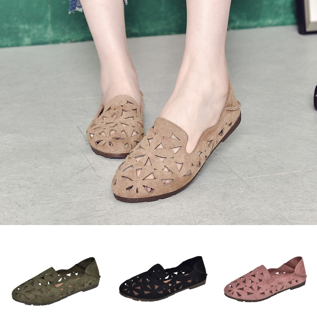 2019 summer new women's shoes wear fashion Korean version of the round head flat with non-slip breathable casual shoes #v20