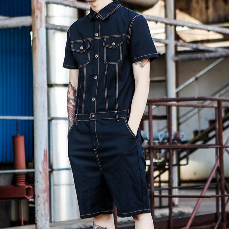 Jeans Jumpsuit Men Summer Short Sleeve One Piece Overalls Mens Denim Jumpsuits Playsuits Rompers Casual Outfit Male Clothes