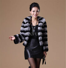 Graceful Womens Genuine Rex Rabbit Fur Coat Imitation Chinchilla Jakcet Turn-down Collar Winter Stripe Overcoat LX00029
