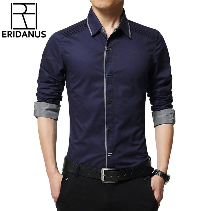 2016 Spring Men's Dress Shirts Solid High Quality Cotton Male Long Sleeve New Korean Style Slim Fit Business&Casual Shirt M050