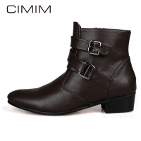 CIMIM Mens Leather Zip Black Chelsea Boots Mens Rubber Rain Boots High Quality Autumn Winter High