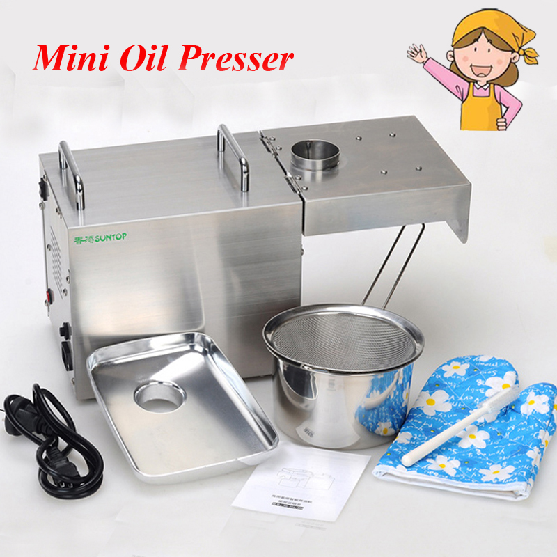 Automatic Oil Press Machine Electric Nuts Seeds Oil Presser Stainless Steel Oil Extraction Hot and Cold Pressing Machine STB-505