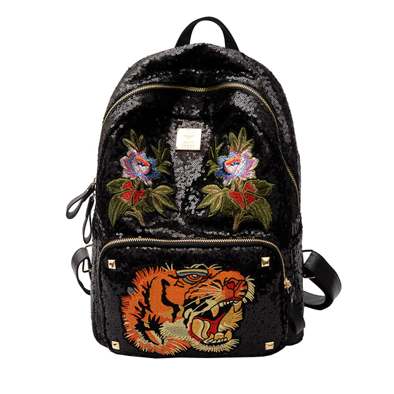 2017 cool women backpack tiger flower bling sparkle embroidery casual satchel