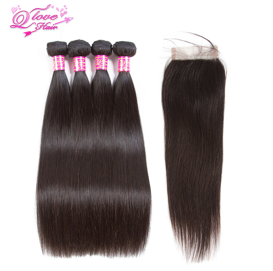 Queen Love Hair Malaysia Straight Human Hair 4 Bundles With Lace Closure 4*4 With Natural Color Remy Hair Extensions