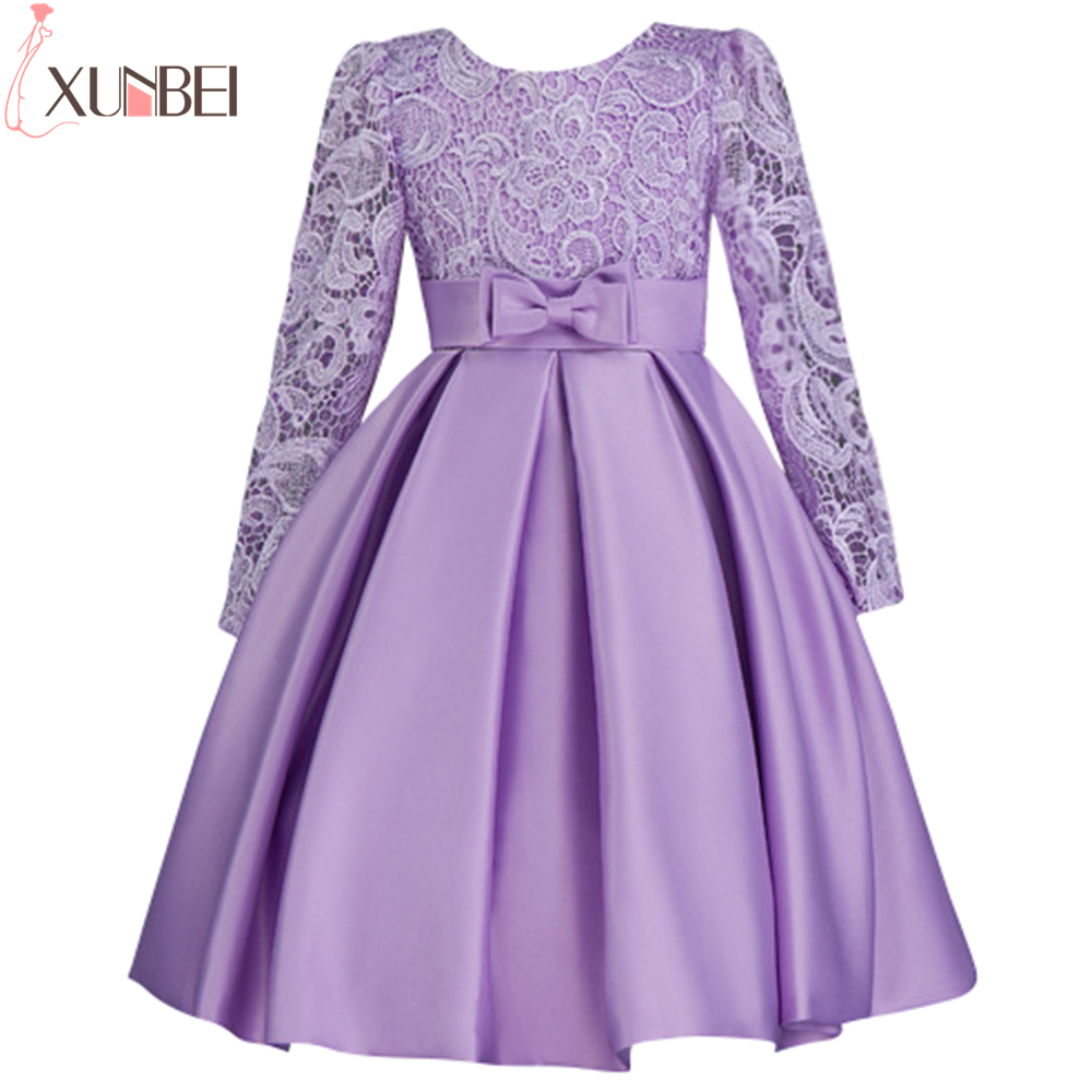 Long Sleeve Lace Purple   Flower     Girl     Dresses   2019 Lovely Bow Sash Ball Gown First Communion   Dresses   Pageant   Dresses   For   Girls
