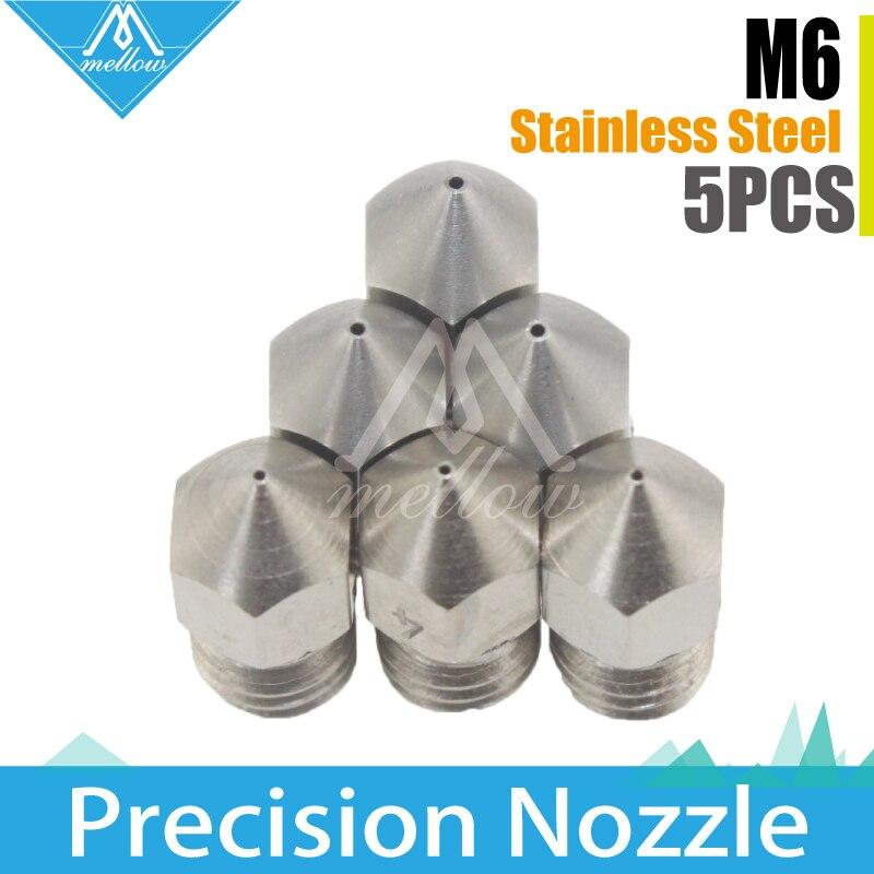 5pcs 3D Printer Reprap i3 stainless steel Nozzle Mix 0.2/0.3/0.4/0.5mm MK8 Extruder Print Head For 1.75MM ABS PLA Printer wholesale 3d printer makerbot mk8 dual exturder 0 2 0 3 0 4mm nozzle 1 75mm abs pla printer head