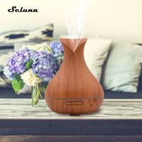 400ml Air Humidifier Aromatherapy Ultrasonic Essential Oil Diffuser With Wood Grain 7 Colorful Changing LED Light