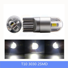 2pcs T10 W5W LED Clearance Lights Reverse Parking Bulbs 3W 6000K White 2SMD 3030 Signal Lamps